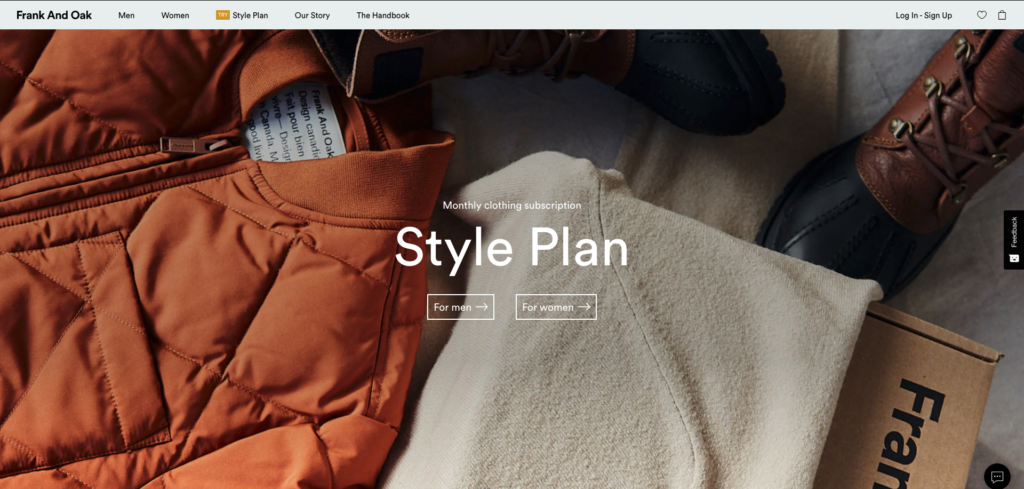Frank and Oak Landing Page
