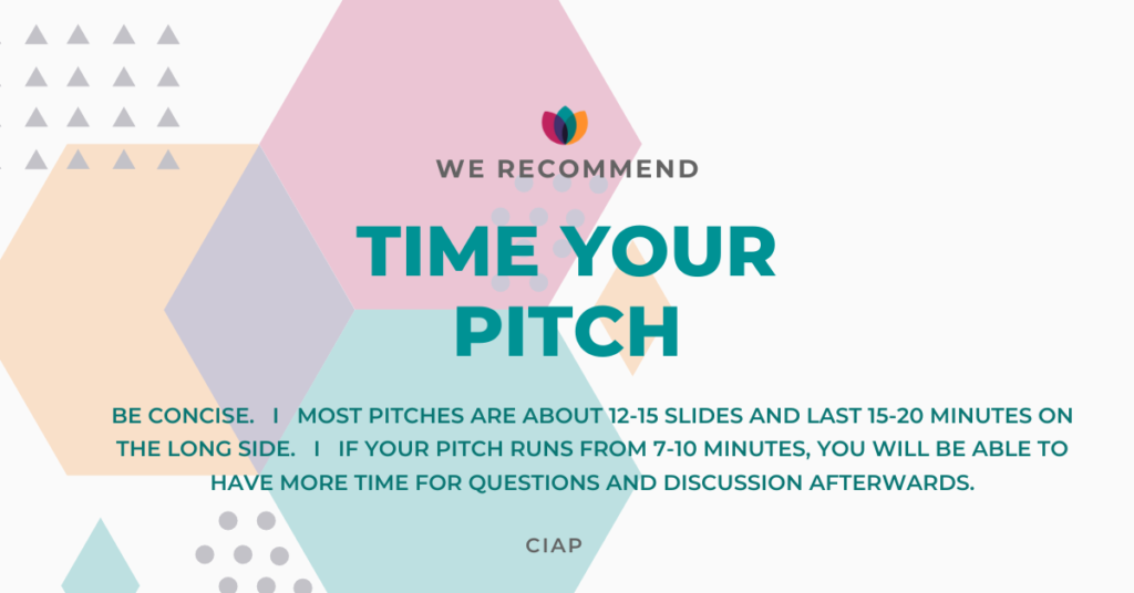 Timing of an investor pitch